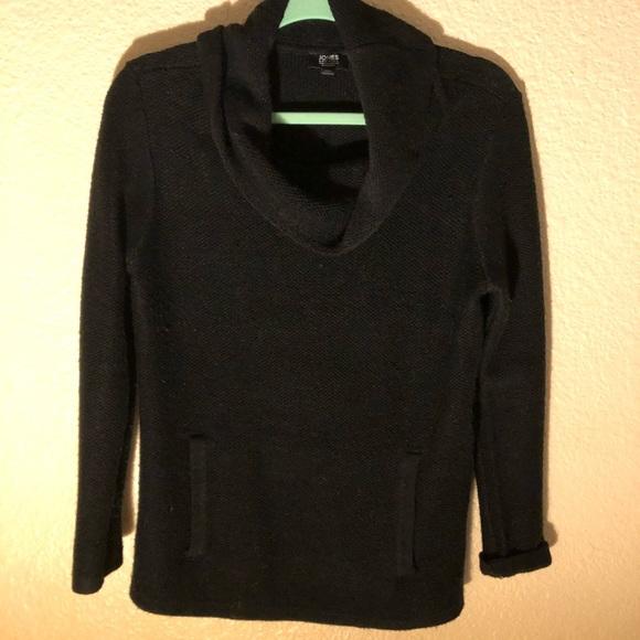 Black Wool Yarn Cowl Neck Sweater